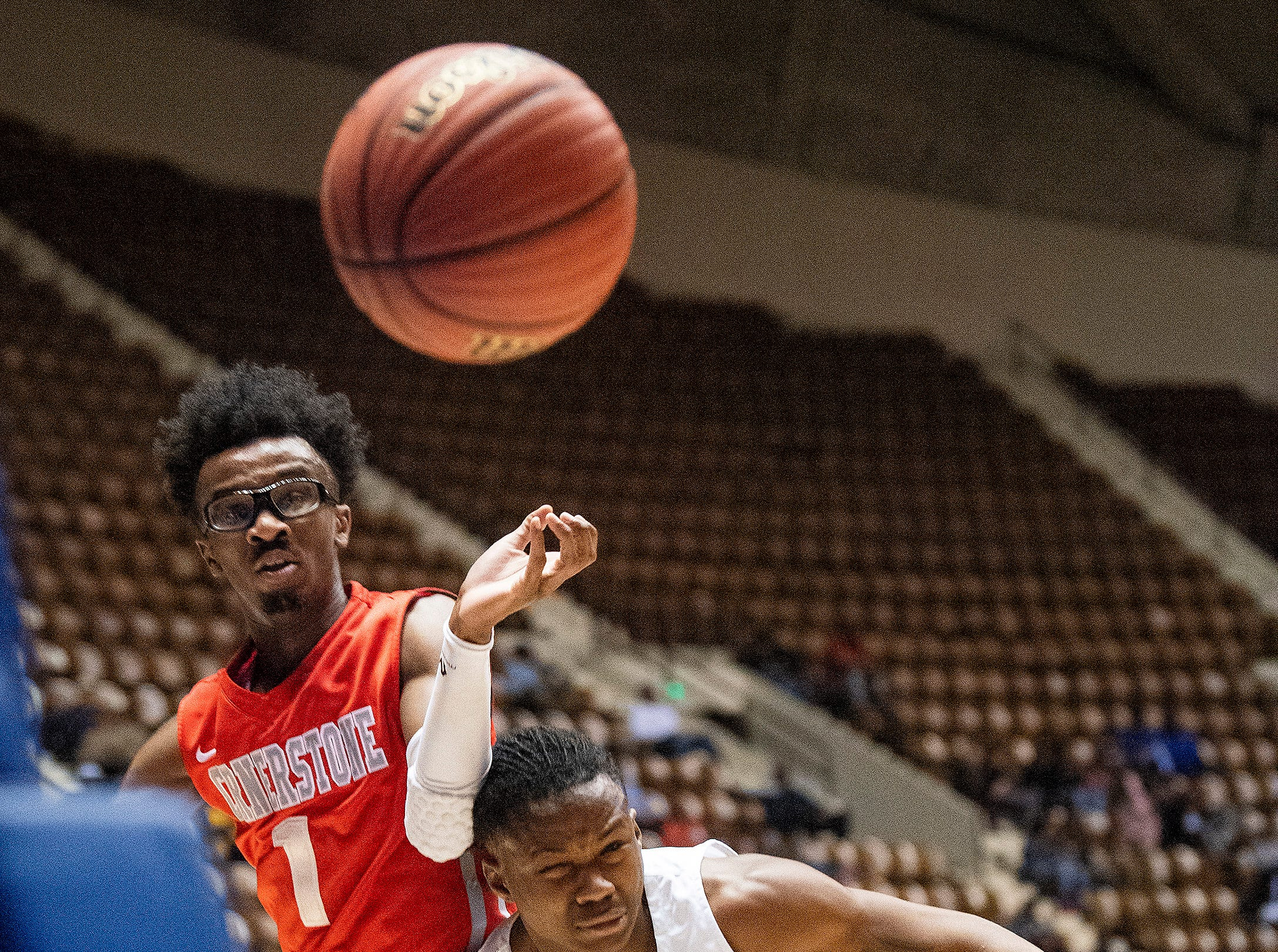 Cornerstone's Trey Johnson and Georgiana's Christopher Mixon chase a loose ball in AHSAA Regional action at Garrett Coliseum in Montgomery, Ala., on Monday February 18, 2019.