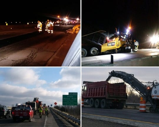 INDOT contractors are working day and night to fill, mill and repave hazardous potholes on Interstate 69 between Daleville and Pendleton.