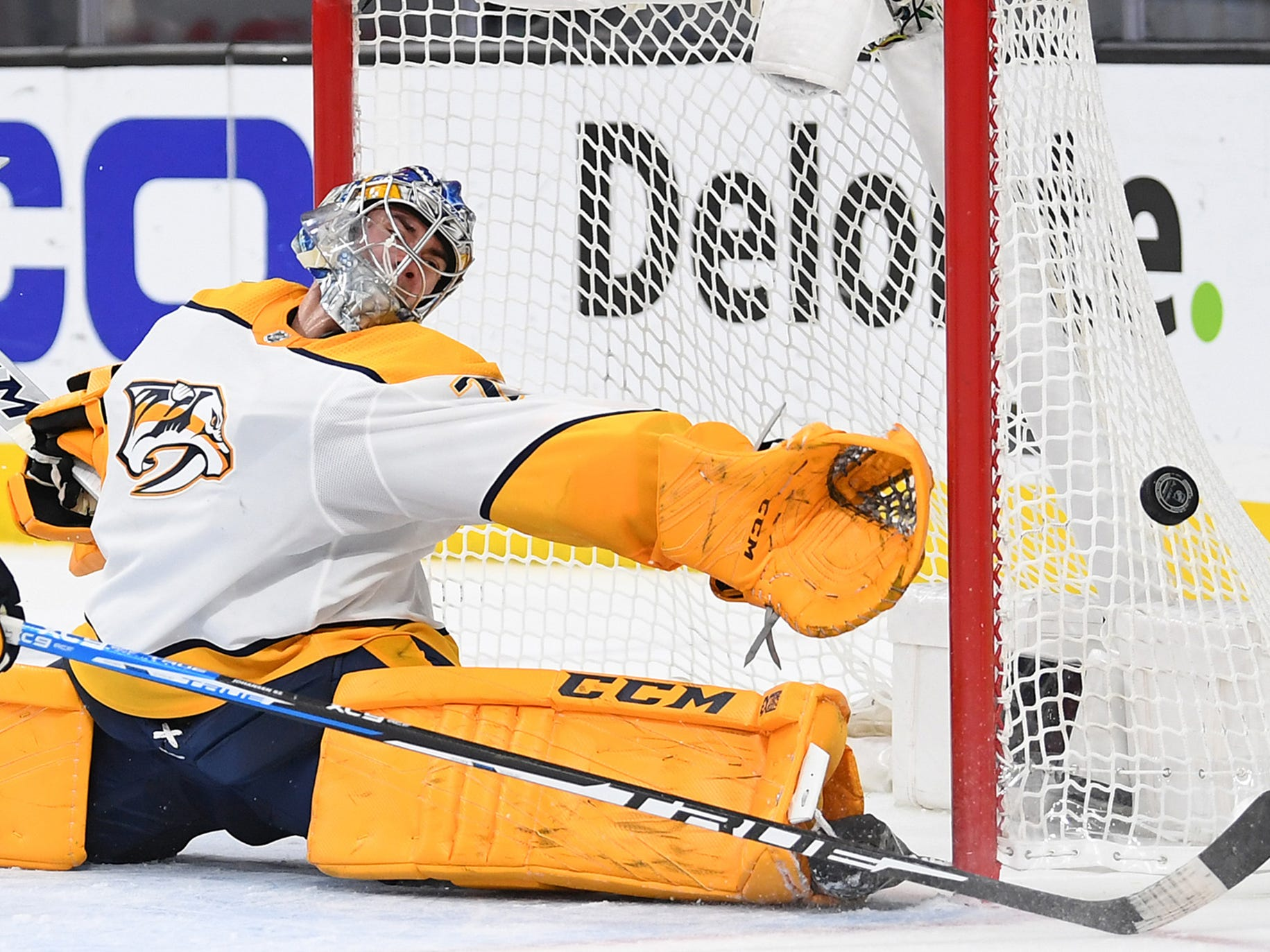 Feb. 16, 2019 -- Golden Knights 5, Predators 1 --Nashville Predators goaltender Juuse Saros (74) reaches to cover the left post during a second period Vegas Golden Knights scoring attempt at T-Mobile Arena.