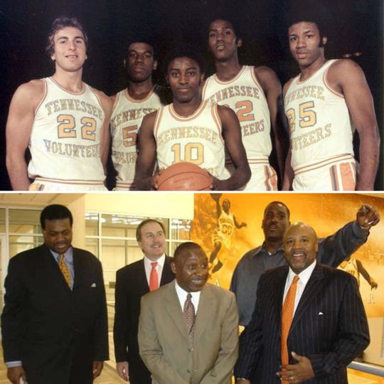 Former Tennessee Vol Mike Jackson from Nashville, far right, will be honored as an SEC Legend at the SEC Tournament in March at Bridgestone Arena. Jackson is pictured here with the other starters on the 1976-77 SEC championship team, from left, Ernie Grunfeld, Bernard King, Johnny Darden and Reggie Johnson. The group still gets together regularly as they did in the photo below in 2018.