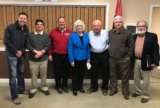Newly elected members of the Wilson County Republican Party's executive committee. Left-to-right: Aaron Shane, Matthew Claiborne, Scott Golden (. Tennessee Republican Party Chair), Mae Beavers, Tom Hoffman, Jeff Howe, Jeff Hartline.
