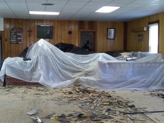 The inside of Eno Road United Methodist Church in Dickson after the Feb. 6 flood event countywide.