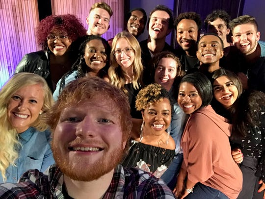 Ed Sheeran takes a selfie with the Belmont University students who sang with him on NBC's 'Elvis All-Star Tribute'