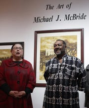 """Cheryl Strichik speaks of the art of local artist Michael J. McBride at his """"Echos of Conversations""""  show in Hendersonville, TN on Saturday, February 16, 2019."""