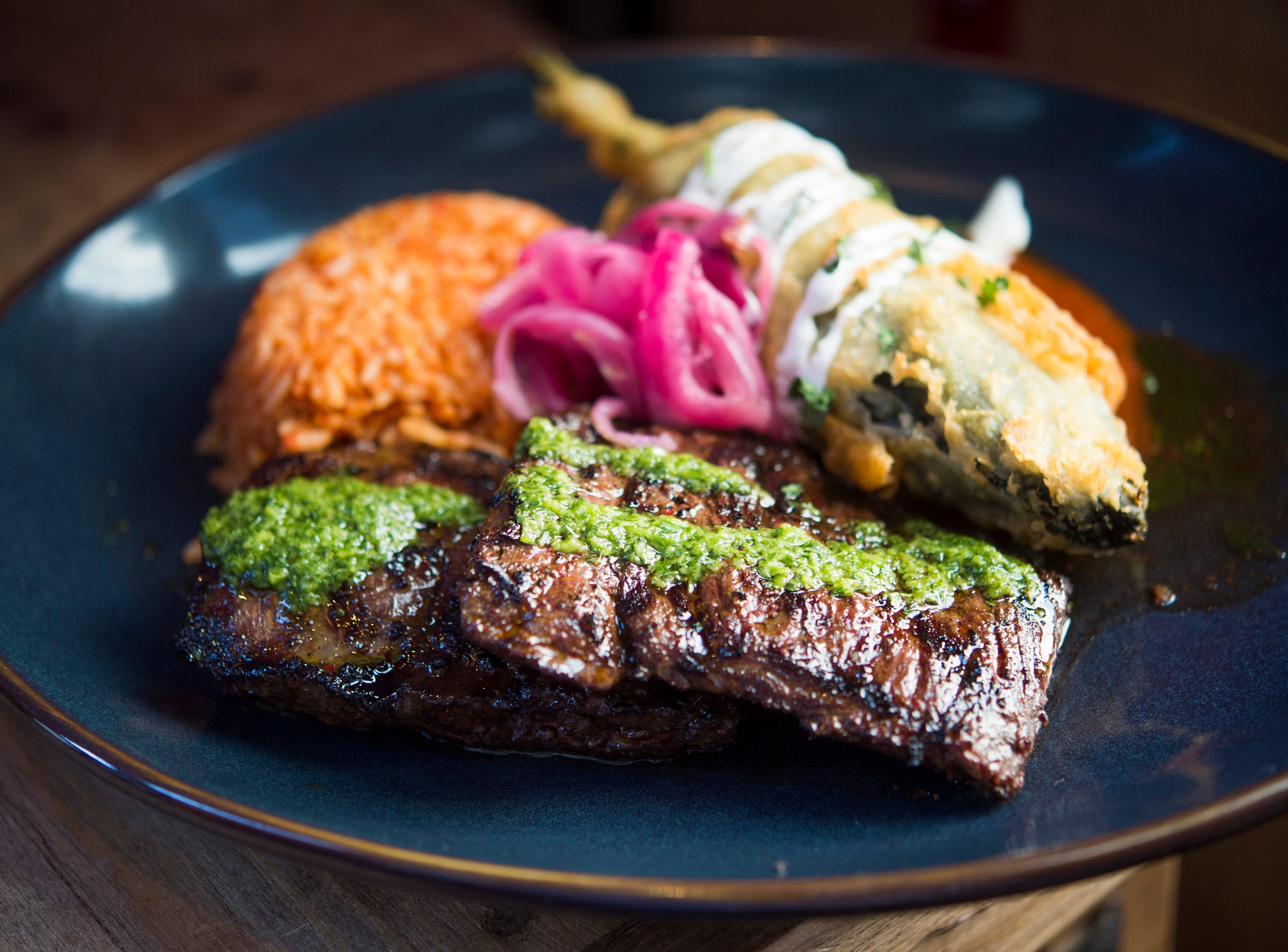Grilled marinated steak at Rocco's Tacos & Tequila Bar.