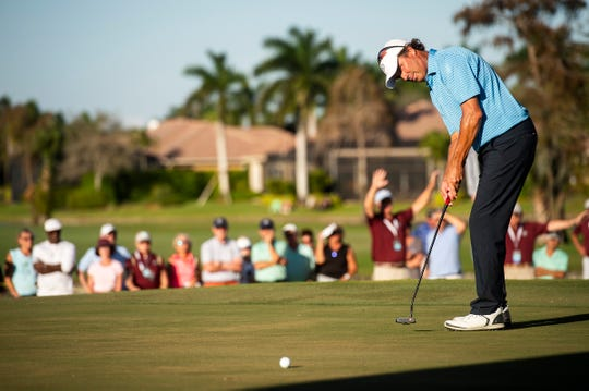 Stephen Ames putts on the 18th hole during the final round of the Chubb Classic at The Classics at Lely Resort on Sunday.
