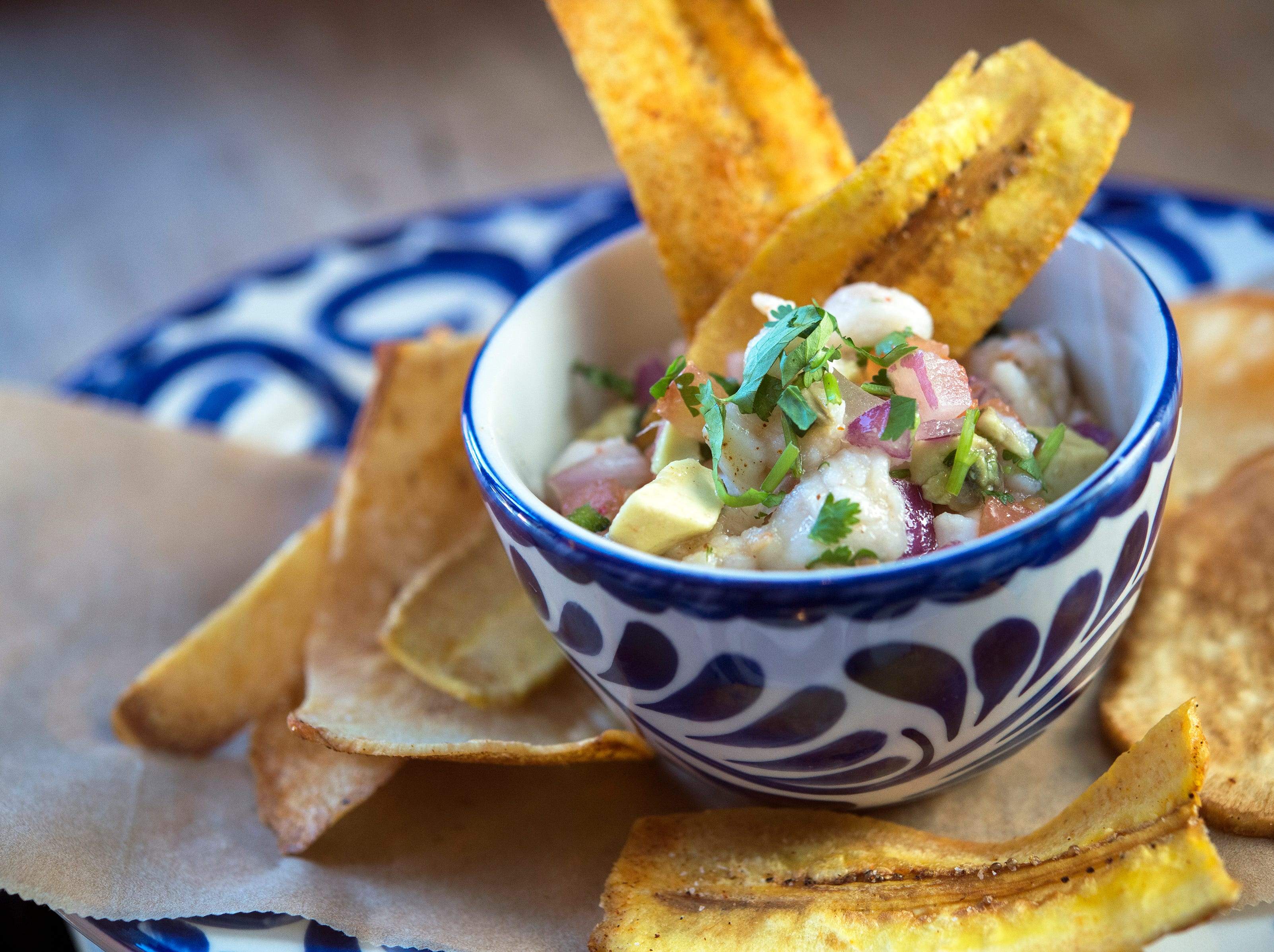 Ceviche at Rocco's Tacos & Tequila Bar features fresh marinated seafood with lime.