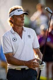 Bernhard Langer reacts to a chip on the 18th hole during a playoff at the Chubb Classic at The Classics at Lely Resort on Sunday.