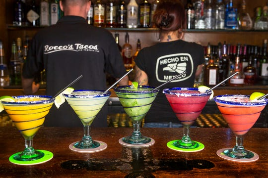 Rocco's Tacos & Tequila Bar features about a dozen different kinds of margaritas with flavors from blood orange to watermelon.