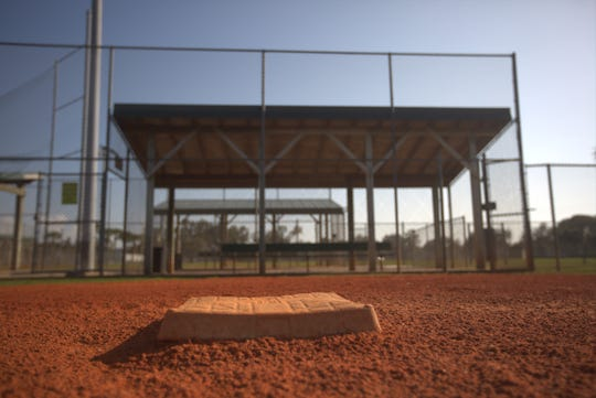 The dugout at the Bonita Springs baseball fields. City officials are searching for grants to update the fields.