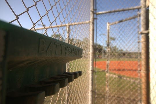 The Bonita Springs baseball fields dugout bat holder.