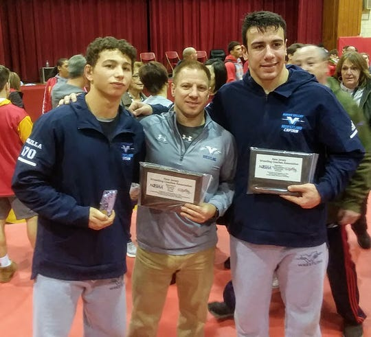Wayne Valley wrestling's (from left) Reid Colella, coach Todd Schroeder and Nick Trani.