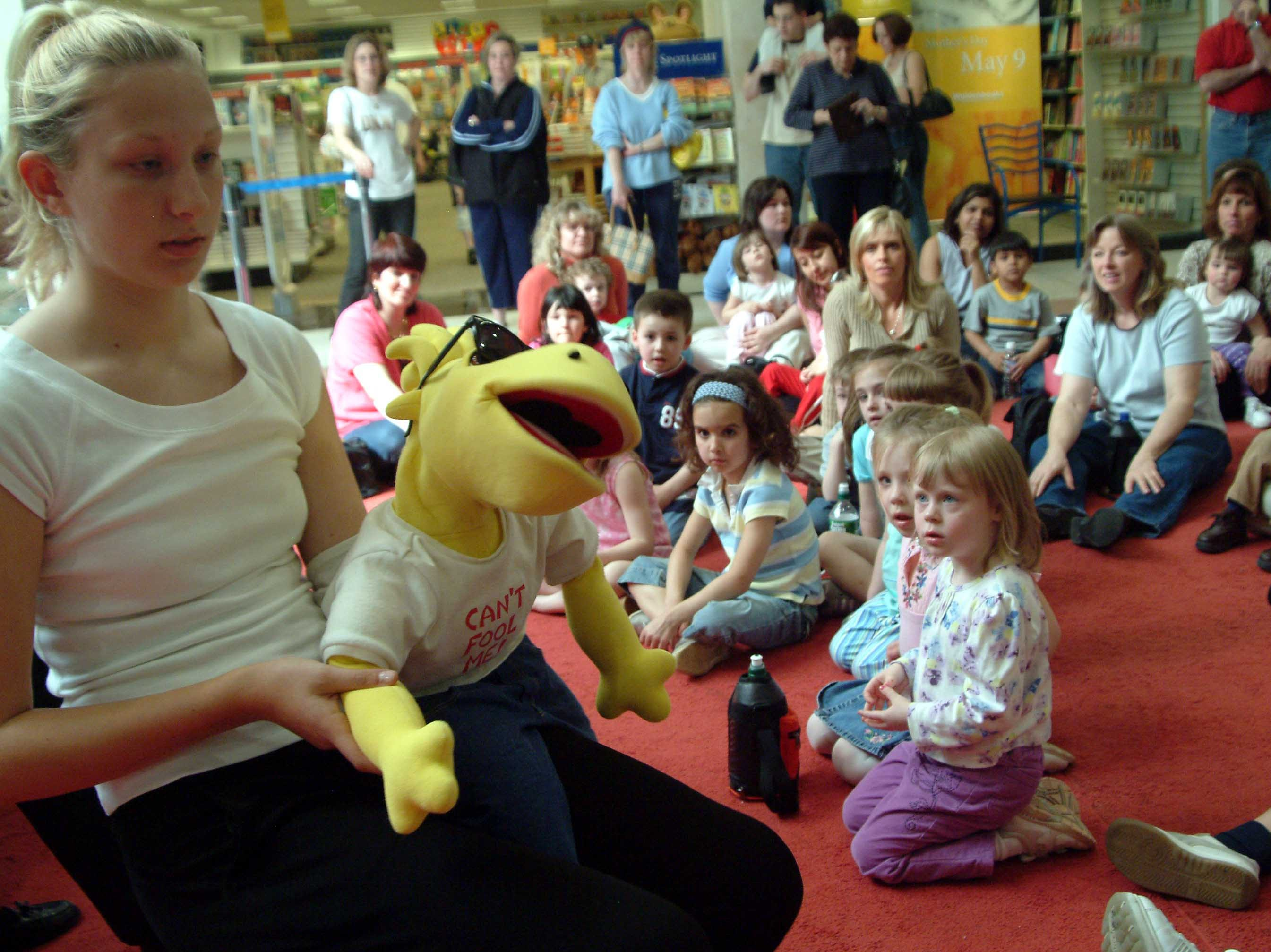 Yellow Dyno teaching kids how to be safe at Wayne Hills Mall in the early 2000s.