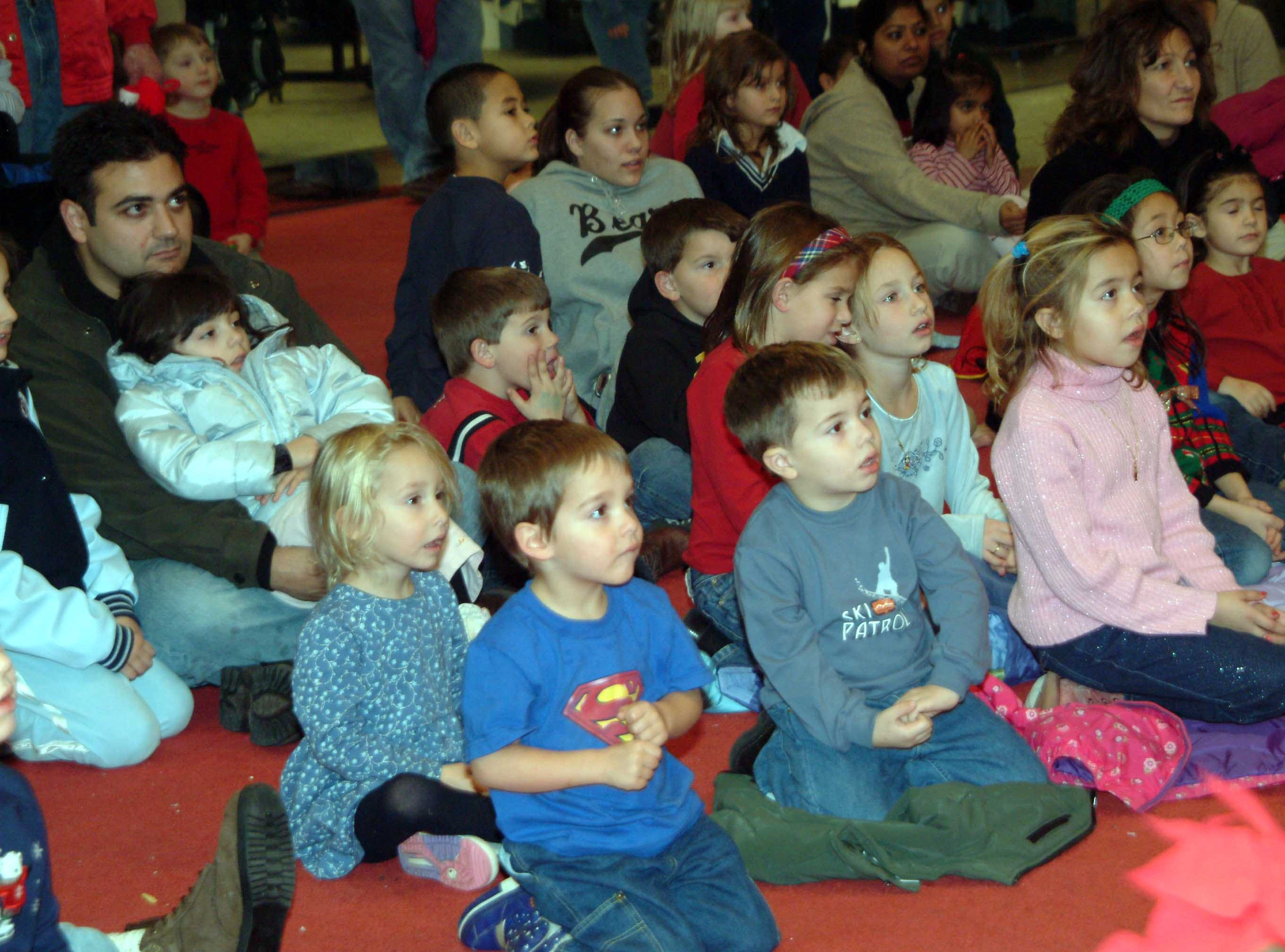 Children watching Santa Dec. 9, 2003.