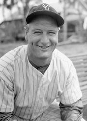 In this March 1936 file photo Lou Gehrig, New York Yankee's first baseman, poses at spring training in Florida.