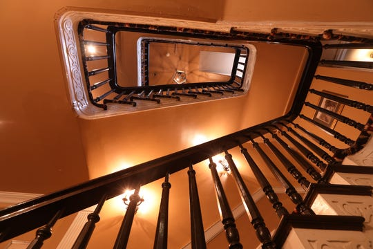 The staircase at the Ho-Ho-Kus Inn & Tavern is shown here.  The structure is believed to have been built in the 1790's. Monday, February 18, 2019