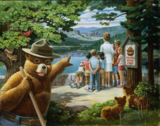 """Protect Nature's Beauty for Future Generations"" by Rudolph ""Rudy"" Wendelin is indicative of Wendelin's personification of Smokey Bear. The original image was completed with alkyd oil on a Fredrix canvas panel."