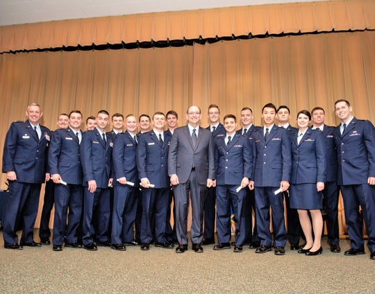 Under Secretary of the Air Force Matthew Donovan, center, was guest speaker at the graduation of Specialized Undergraduate Pilot Training Class 19-06, Feb. 15, 2019, at Vance Air Force Base, Oklahoma.