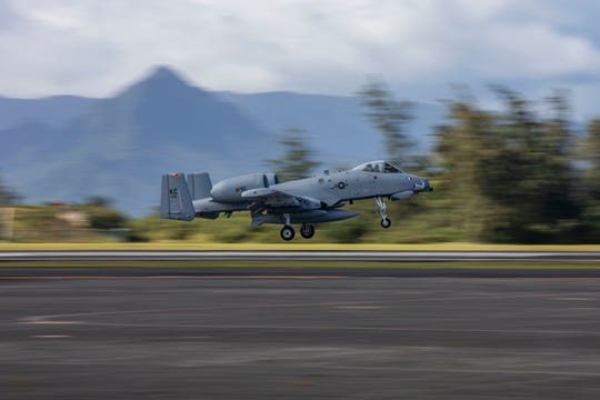 A U.S. Air Force A-10 Thunderbolt II aircraft assigned to the 442nd Fighter Wing from Whiteman Air Force Base, Missouri, lands aboard Marine Corps Air Station Kaneohe Bay, Marine Corps Base Hawaii, Feb. 11, 2019. The unit will be participating in various training exercises across the Hawaiian islands, working alongside U.S. Marine Corps units.