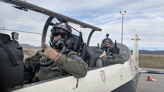 Capt. Andrew Barstow, 37th Flying Training Squadron assistant chief of training, and Cesar Ibarra Jr., Virginia Tech Air Force ROTC Detachment 875 cadet, pose for a photo before a sortie in a T-6 Texan II, at Roanoke Blacksburg Regional Woodrum Field, Va. In addition to working with instructor pilots, cadets were exposed to static displays, major weapons system briefs, and Q-and-A sessions with a team of aircrew flight equipment personnel and the 14th Medical Group flight surgeon from Columbus Air Force Base, Miss
