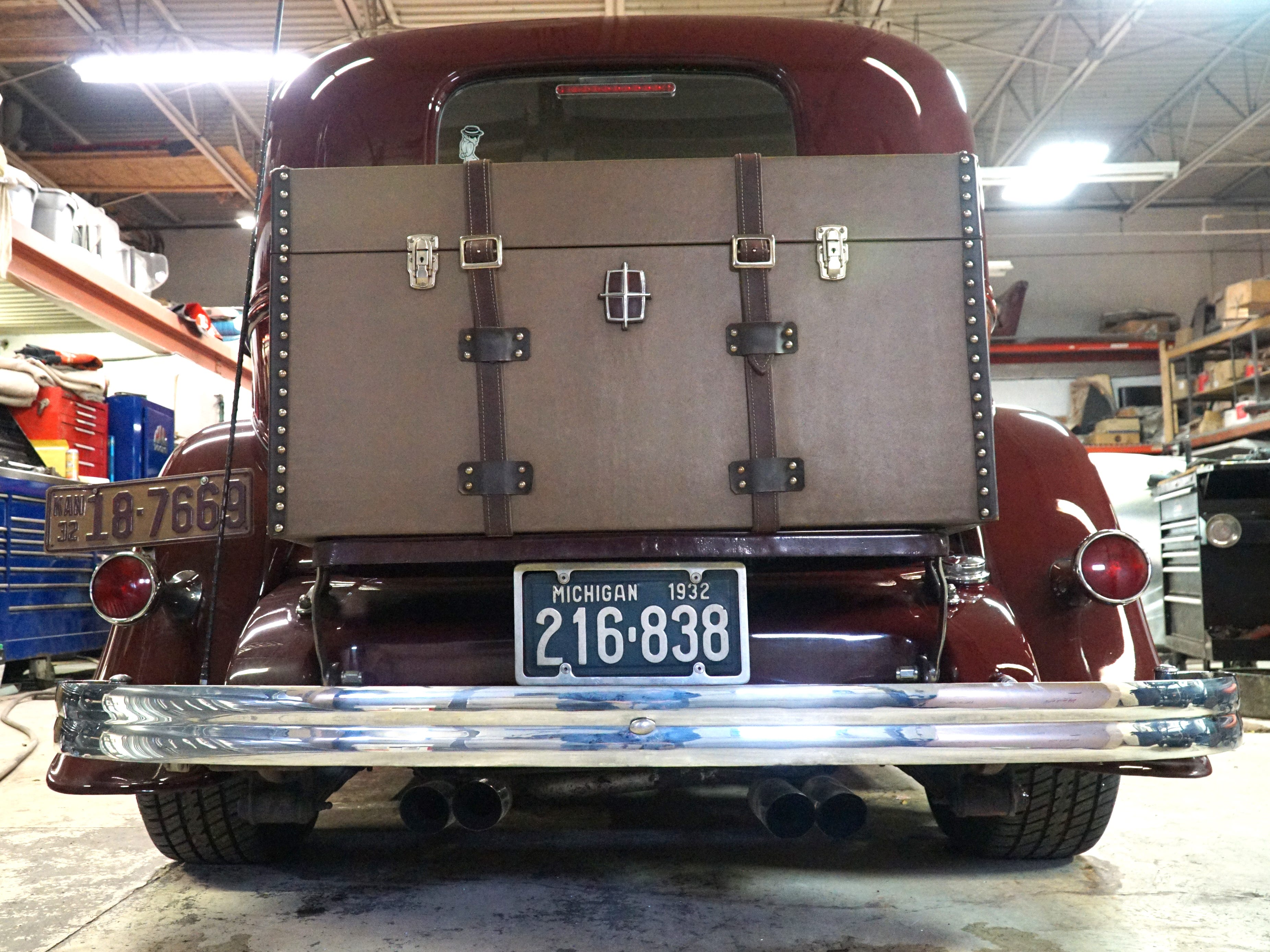 One of the previous owner's of Neal's '32 Lincoln had this storage trunk made for its above-bumper area. Neal uses it to store some of the car's extras.