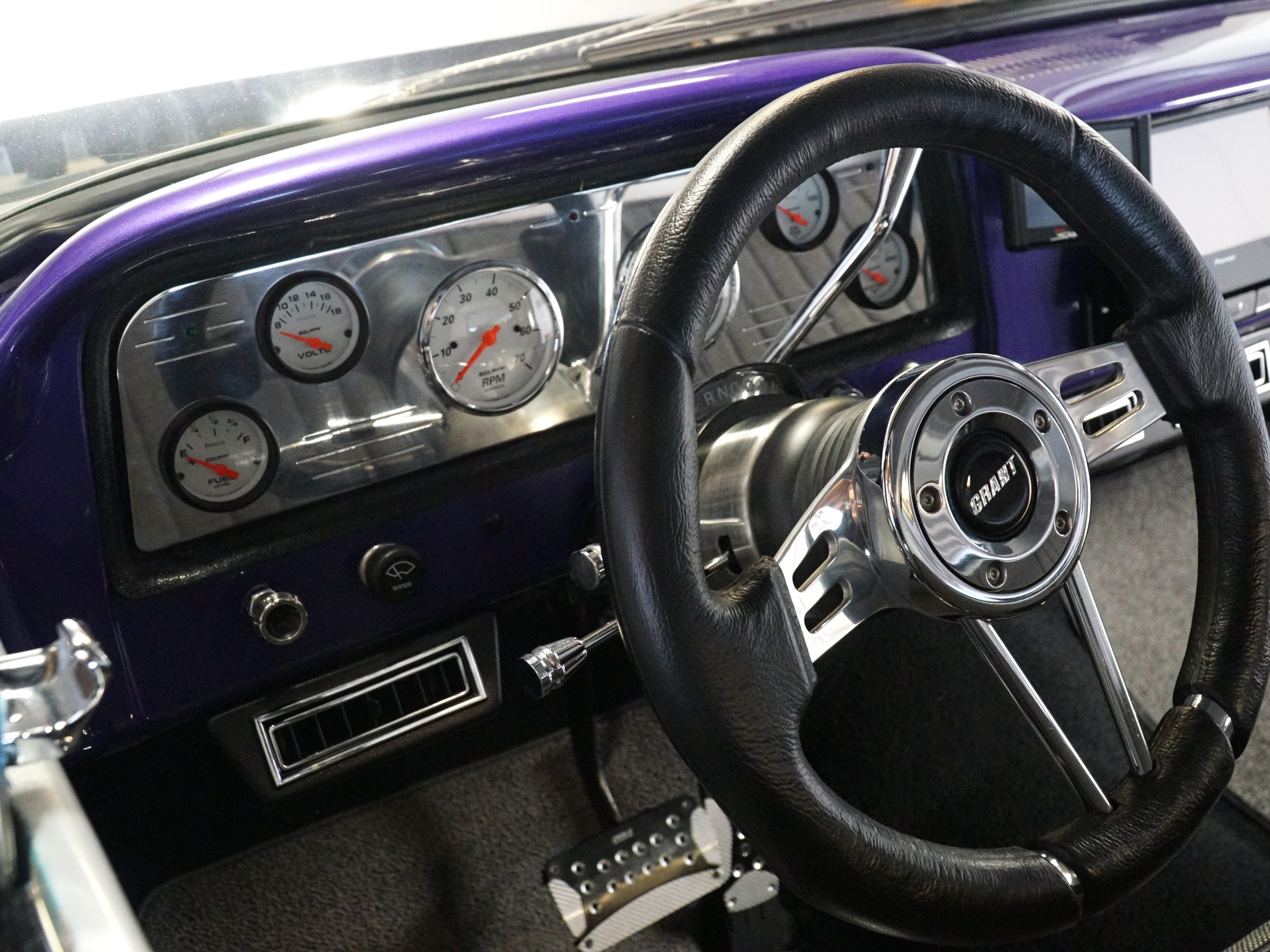 The Coleman's '65 GMC pickup truck's dashboard. The vehicle also features a 700 R4 overdrive transmission.