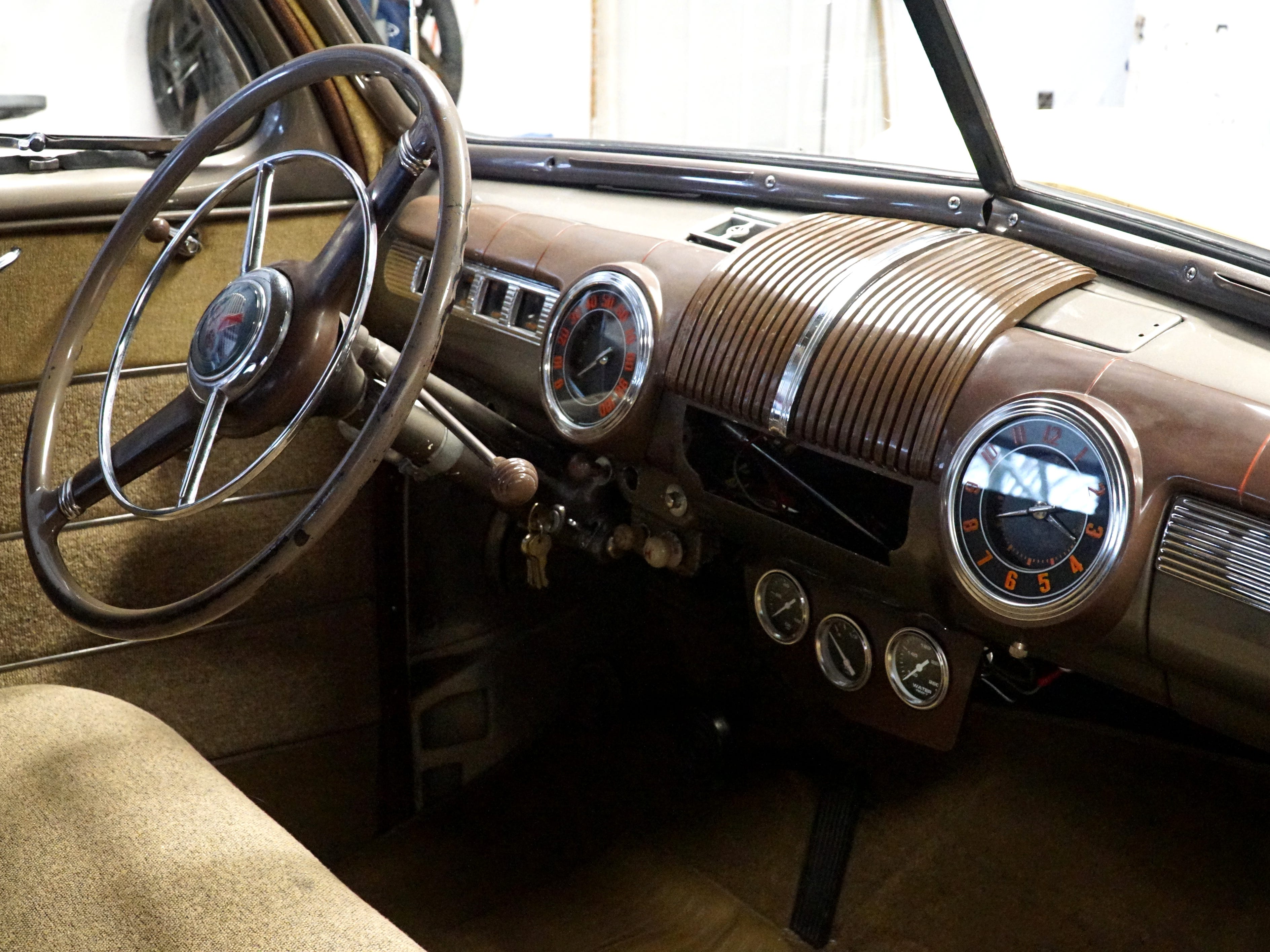 The dashboard of Douglass' '46 Ford.