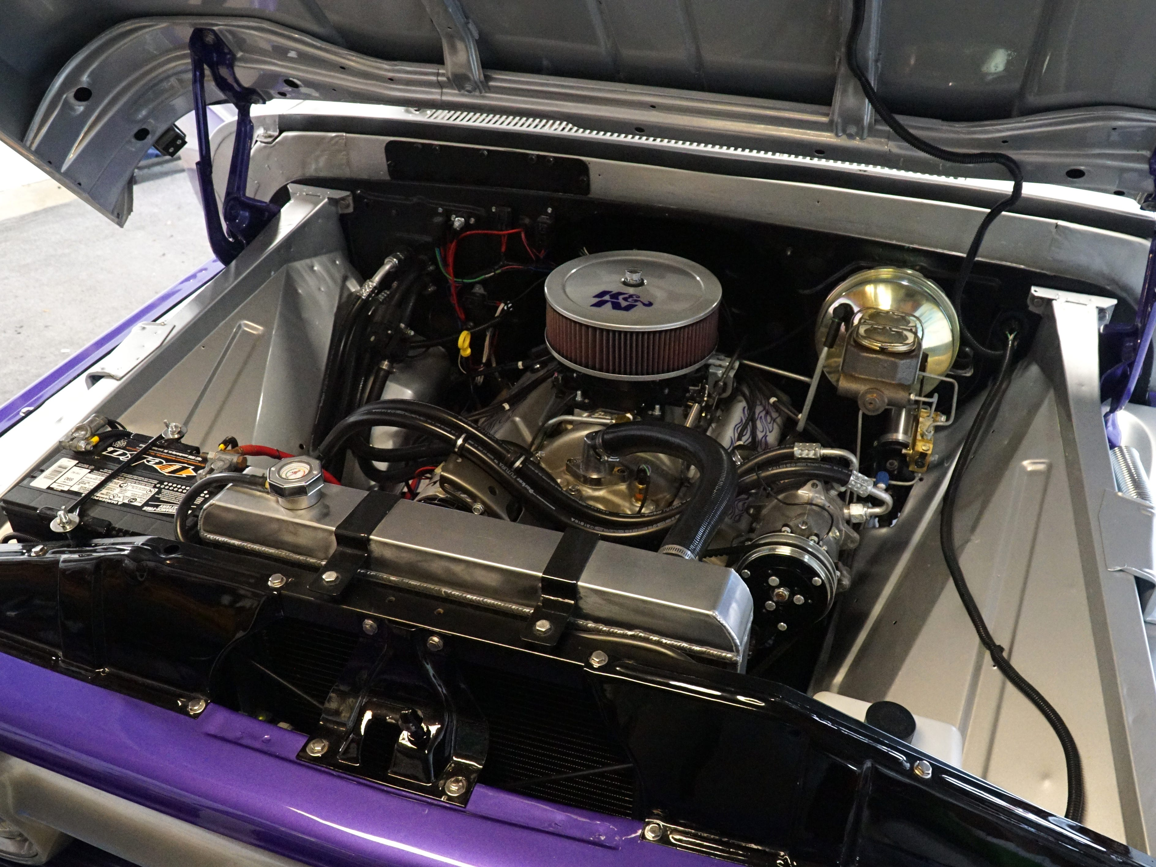 A look at the engine compartment of Coleman's '65 GMC.