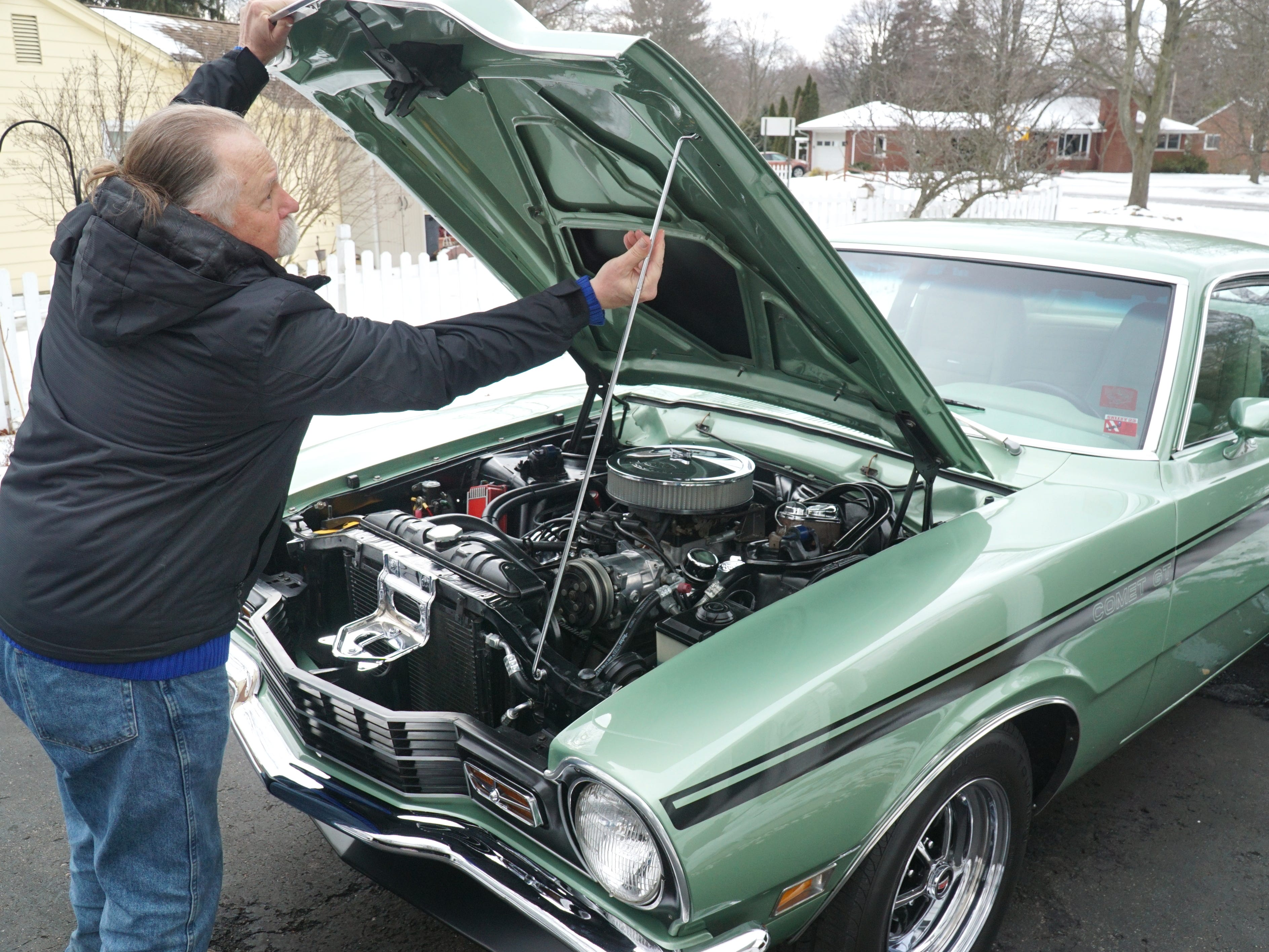 The interior of Livonia resident Mick Stolarczyk's opens up the hood of his '71 Mercury Comet. He'll be showing the car that he bought in 2007 at this year's Autorama Show in Detroit which begins on Marchn 1 at Cobo Hall. Stolarczyk owned a Comet in the early 70s before he went into the Air Force - and has spent about four years restoring this current model - which he'll drive to car shows - not trailer.