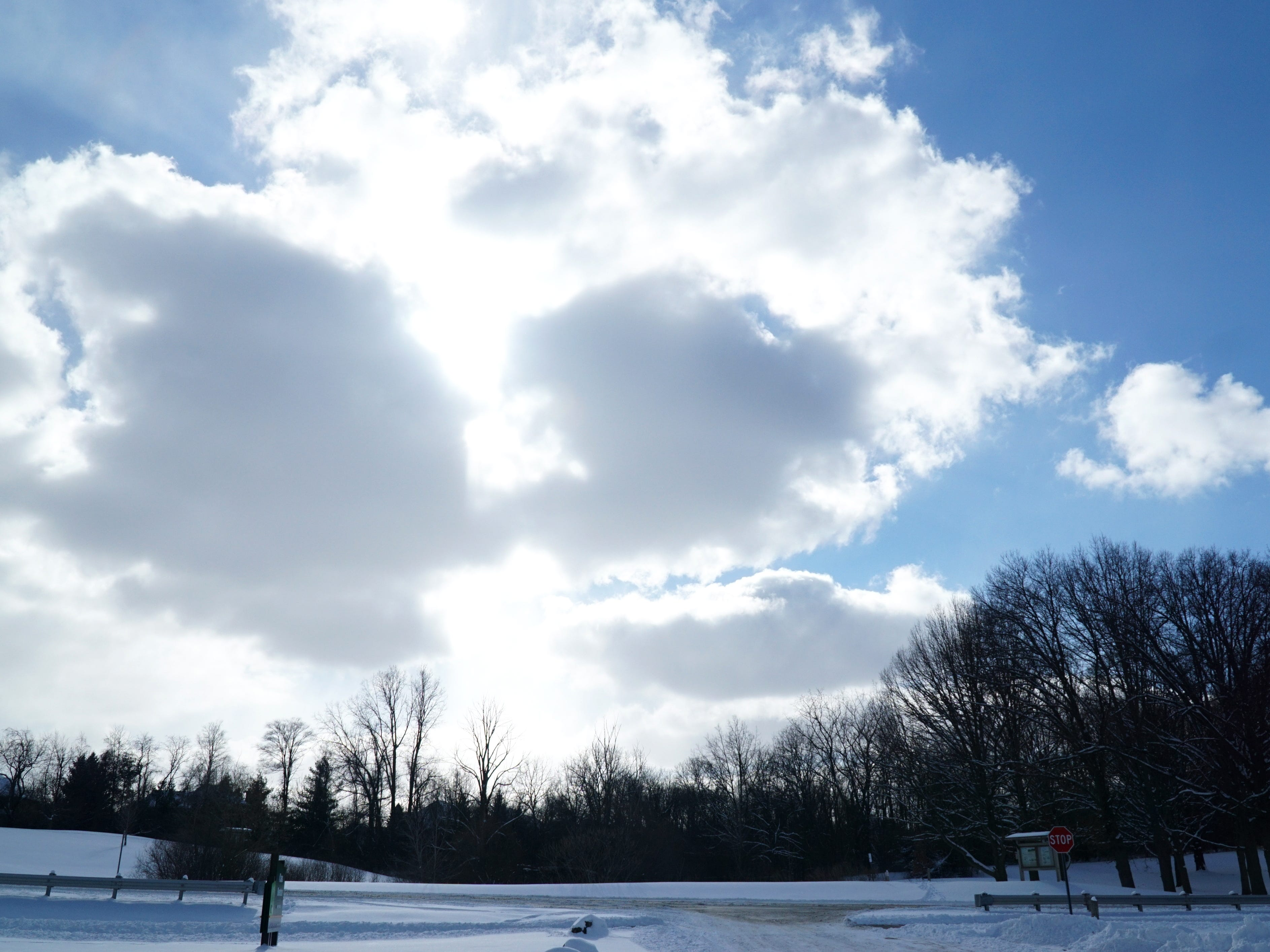 A bright but somewhat cloudy sky shines over Hines Park in Northville Township on Feb. 18.