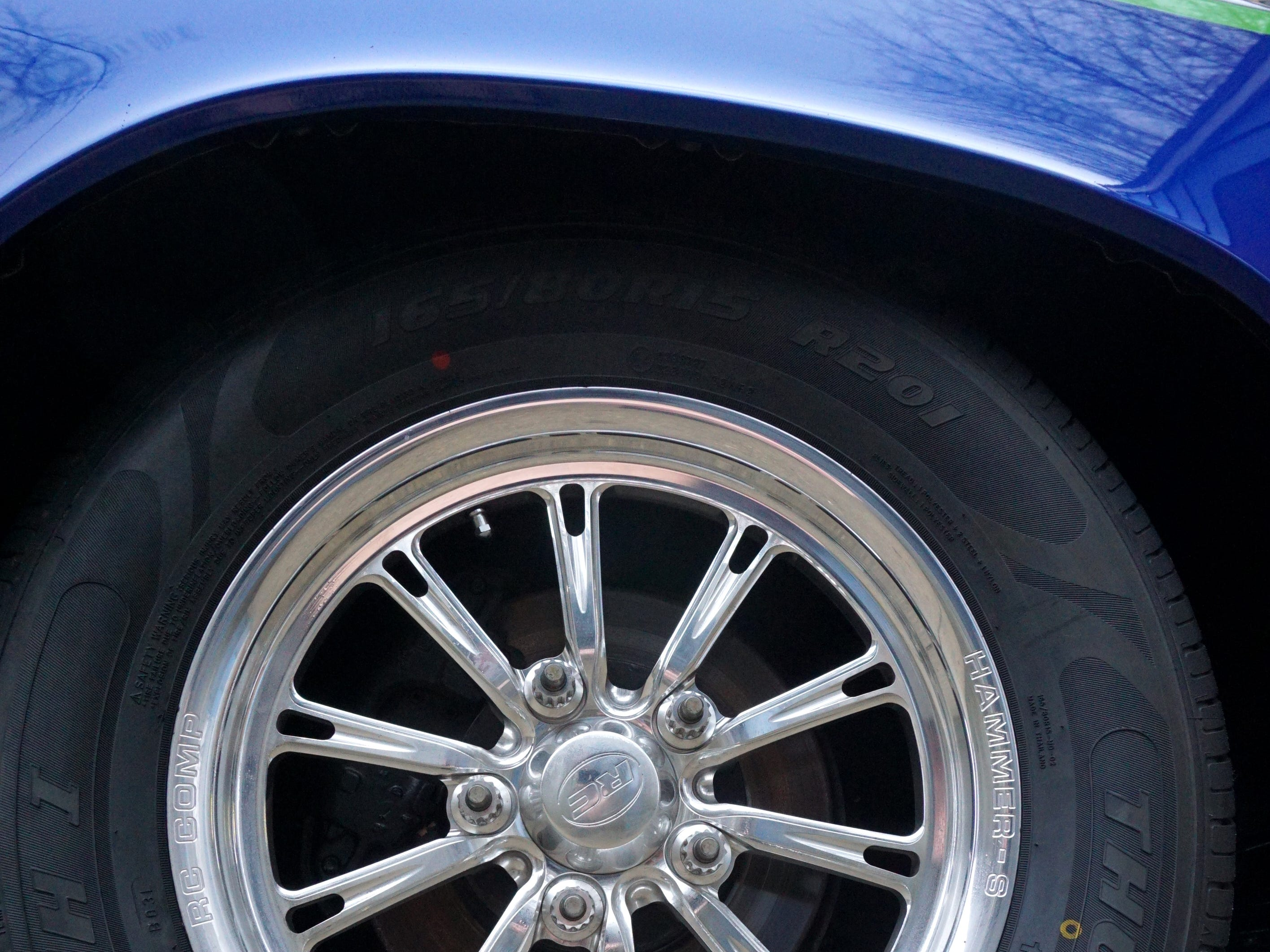 The rims of Carey's Chevelle are custom-made.