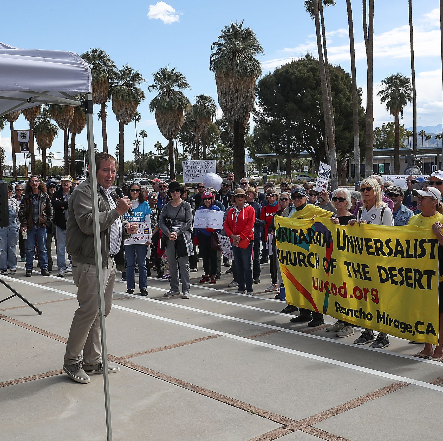 'Not My President Day': Palm Springs rally joins nationwide opposition to federal emergency declaration