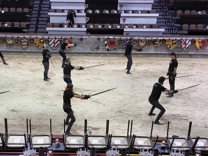Knights training for Medieval Times.