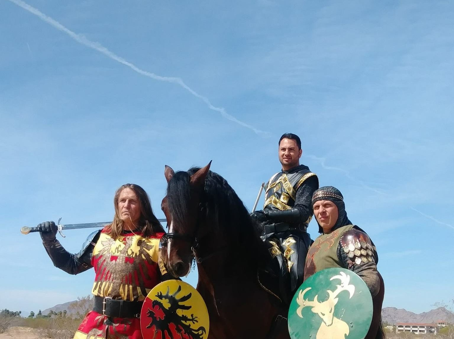 Three knights and a horse.