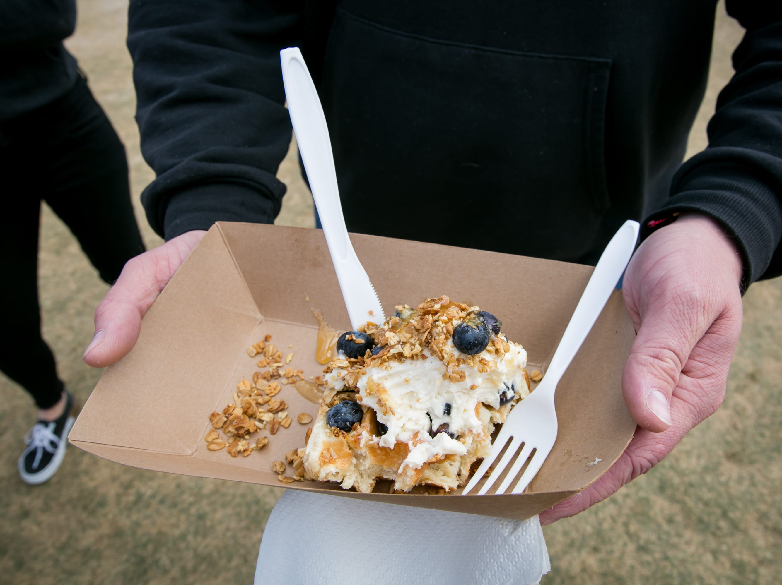 This blueberry granola honey waffle was fantastic during the Street Eats Food Truck Festival at Salt River Fields near Scottsdale on Feb. 17, 2019.