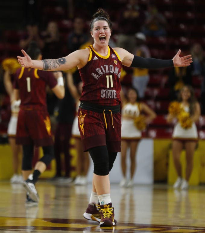 ASU's Robbi Ryan (11) celebrates a three pointer that ties the game during the second half against Utah at Wells Fargo Arena in Tempe, Ariz. on February 17, 2019.