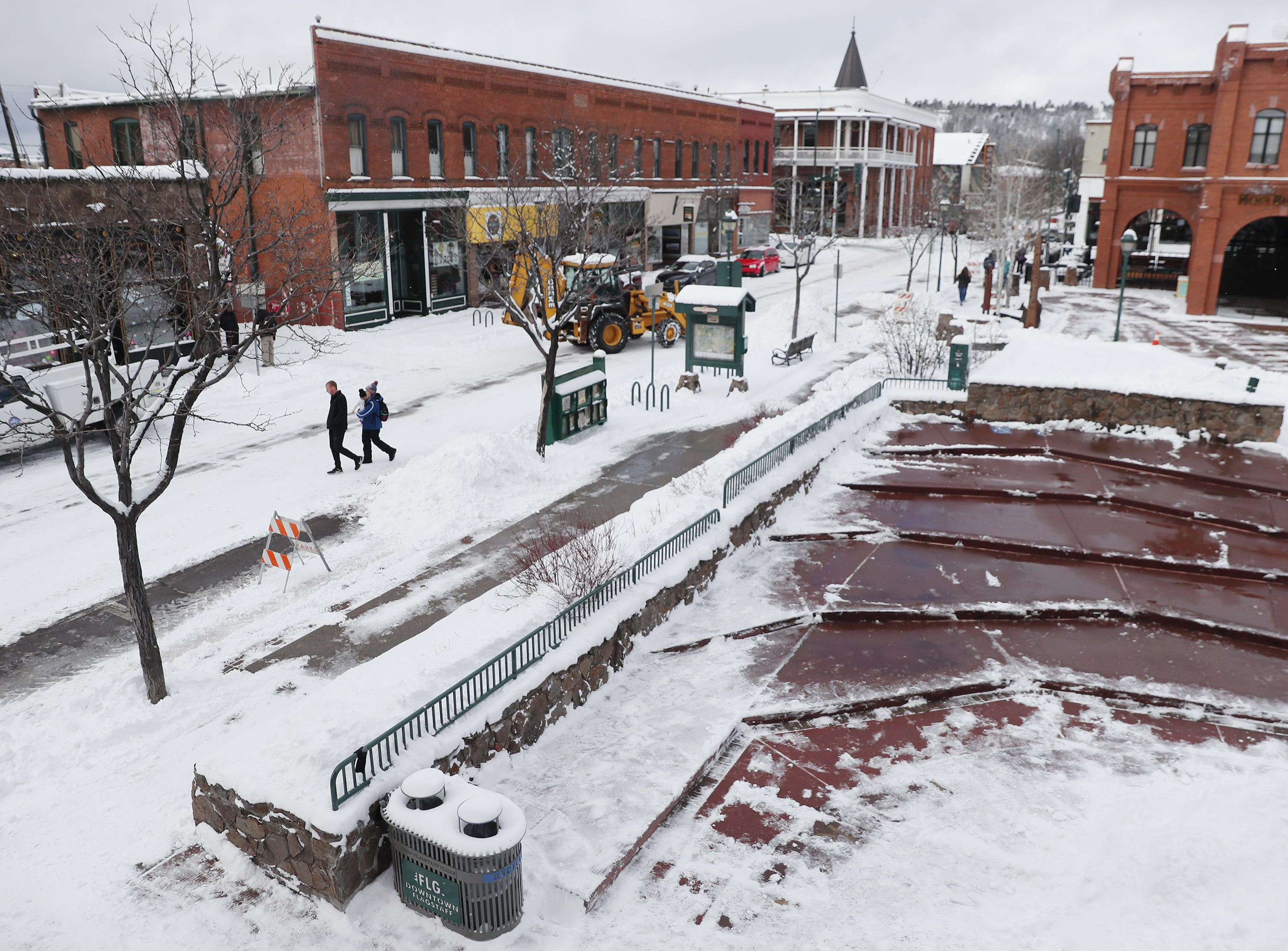 Snow blankets downtown Flagstaff Feb. 18, 2019.