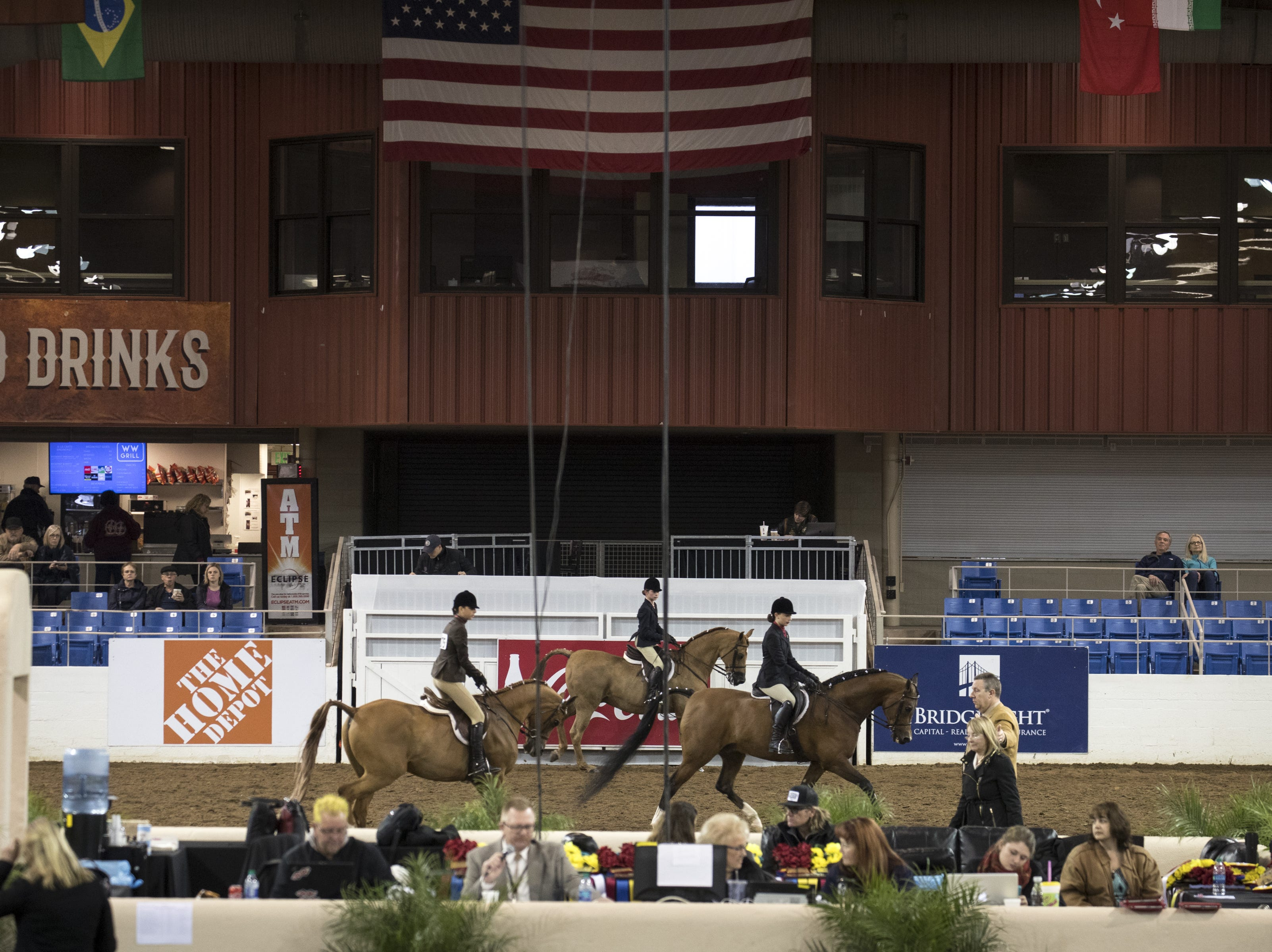 Riders during the Arabian Hunter Pleasure Championship 14 & under category on Feb. 18, 2019, during the 64th Annual Scottsdale Arabian Horse Show at West World.