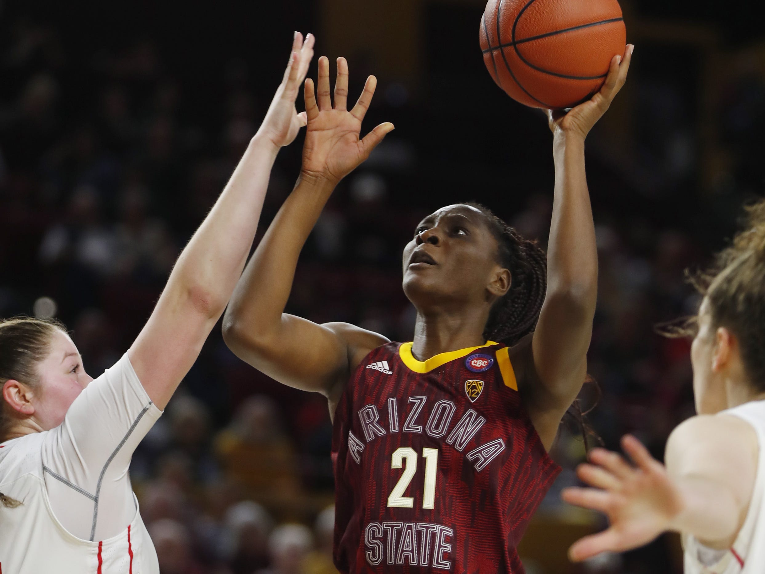 ASU's Sophia Elenga (21) shoots against Utah's Andrea Torres (14) during the second half at Wells Fargo Arena in Tempe, Ariz. on February 17, 2019.