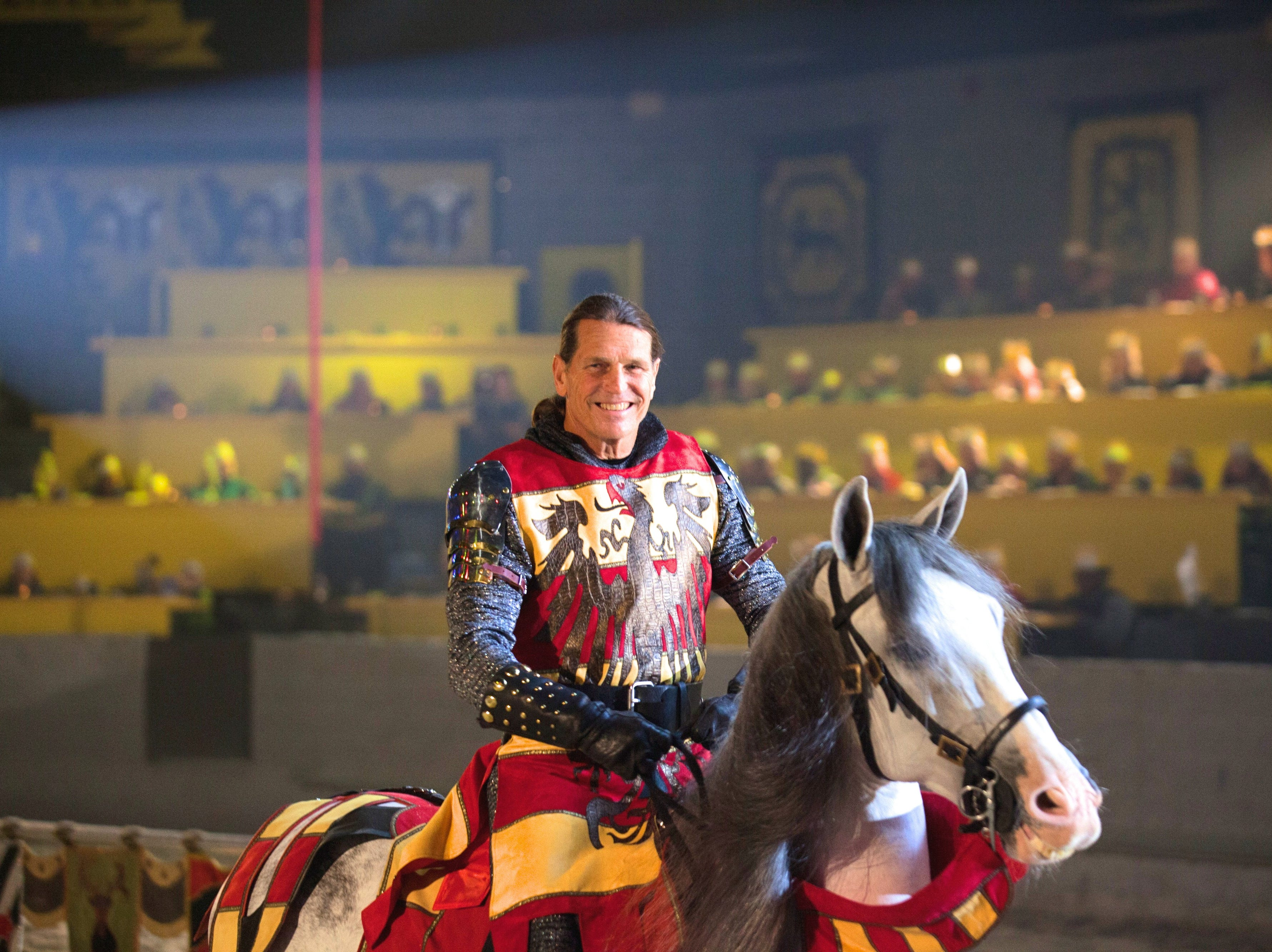 A knight performing at Medieval Times.