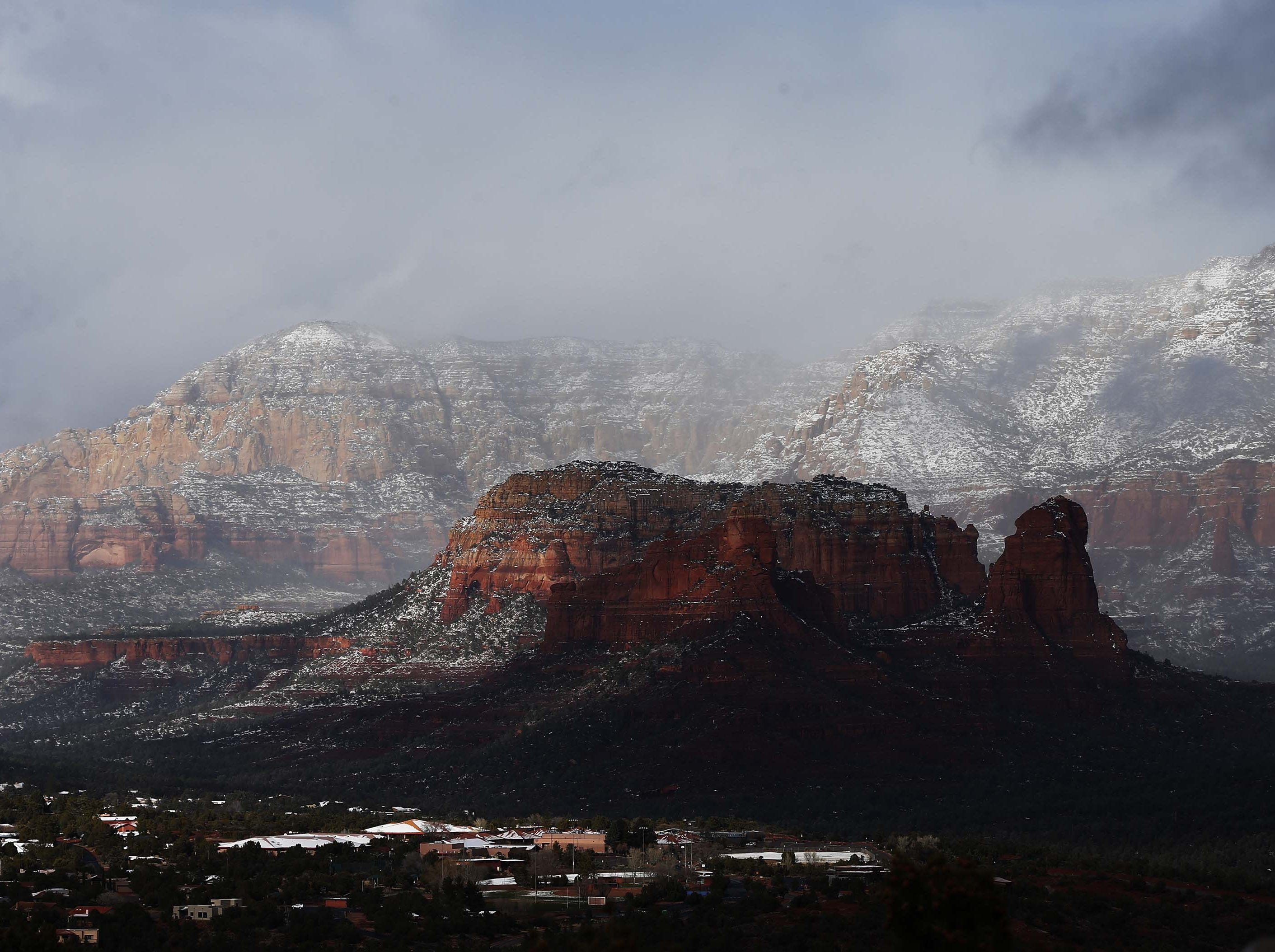 Snow covers the red rocks in Sedona Feb. 18, 2019.