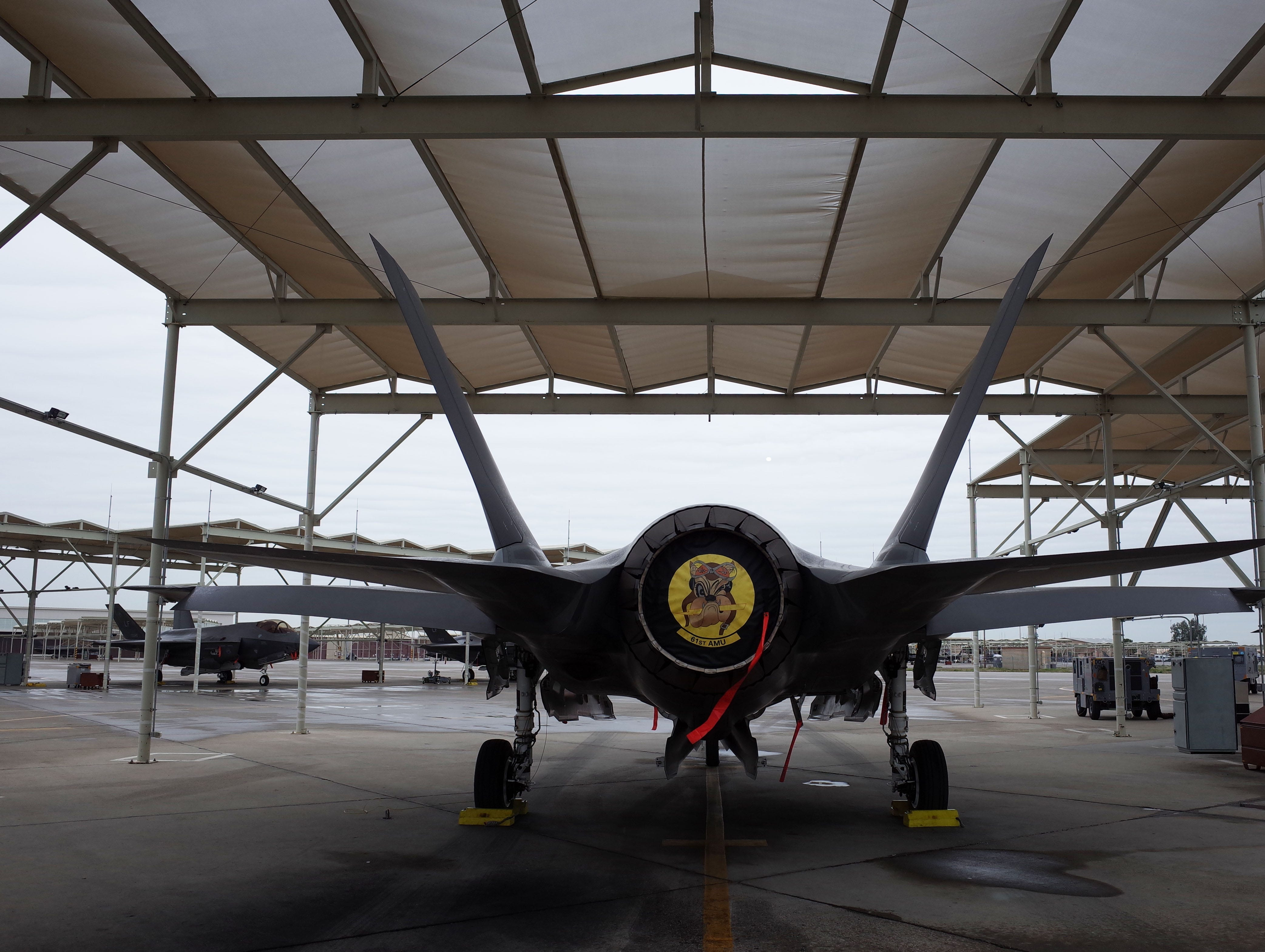 The F-35A can travel at mach 1.6, faster than the speed of sound, according to manufacturer Lockheed Martin. The emblem on the rear of the jet is for the 61st fighter squadron at Luke.