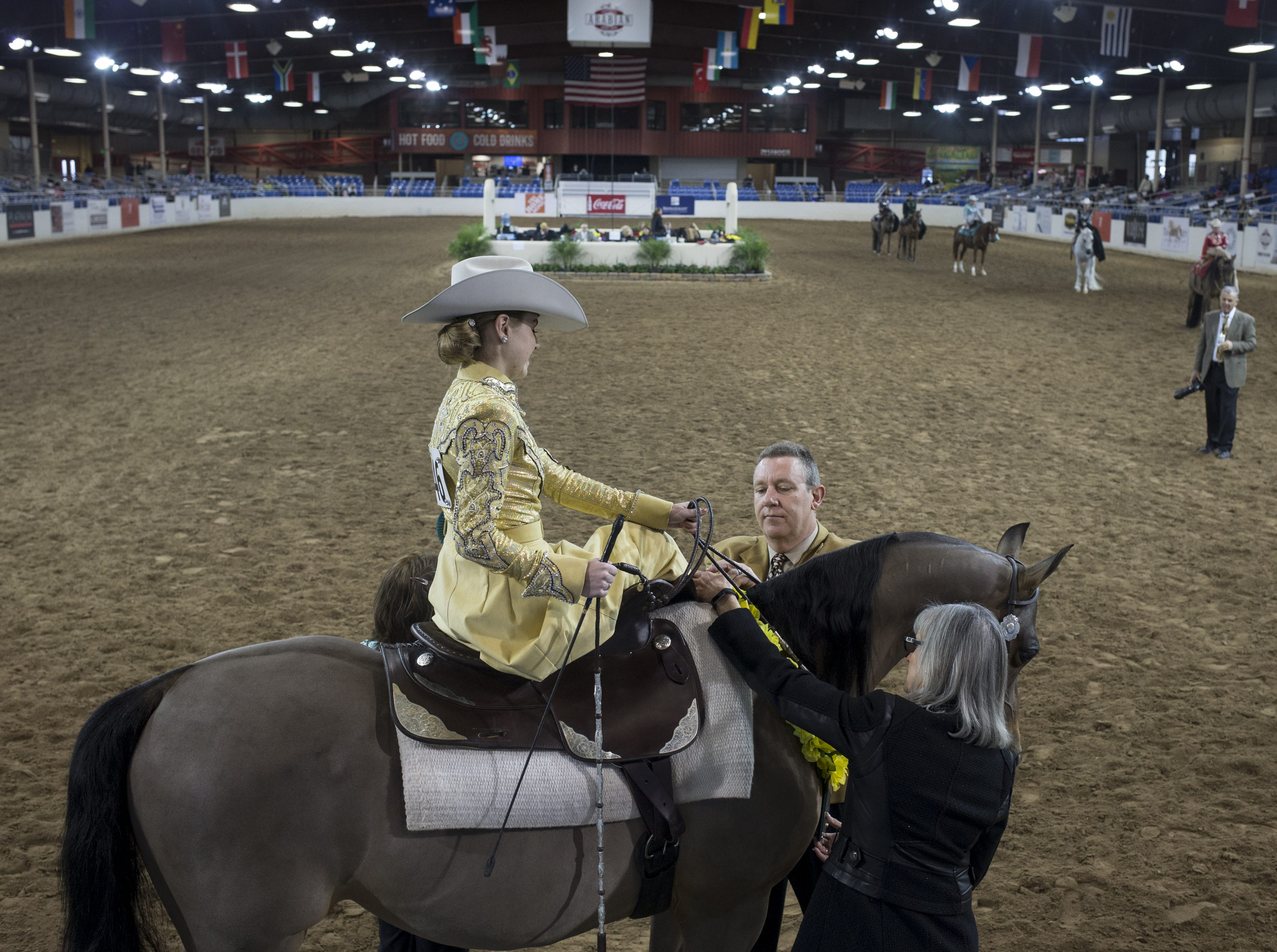 Elena Barker and her horse, Veresace place second in the Arabian Ladies Side Saddle Championship Western 18 & under category on Feb. 18, 2019, during the 64th Annual Scottsdale Arabian Horse Show at West World.