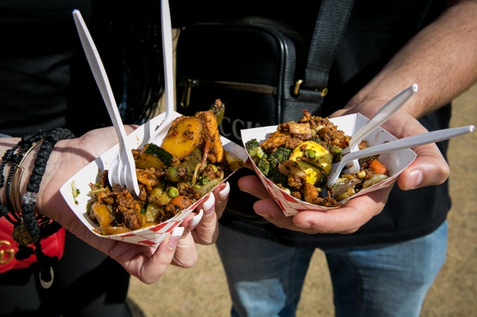 These plates from Island Noodle Company were delicious during the Street Eats Food Truck Festival at Salt River Fields near Scottsdale on Feb. 17, 2019.