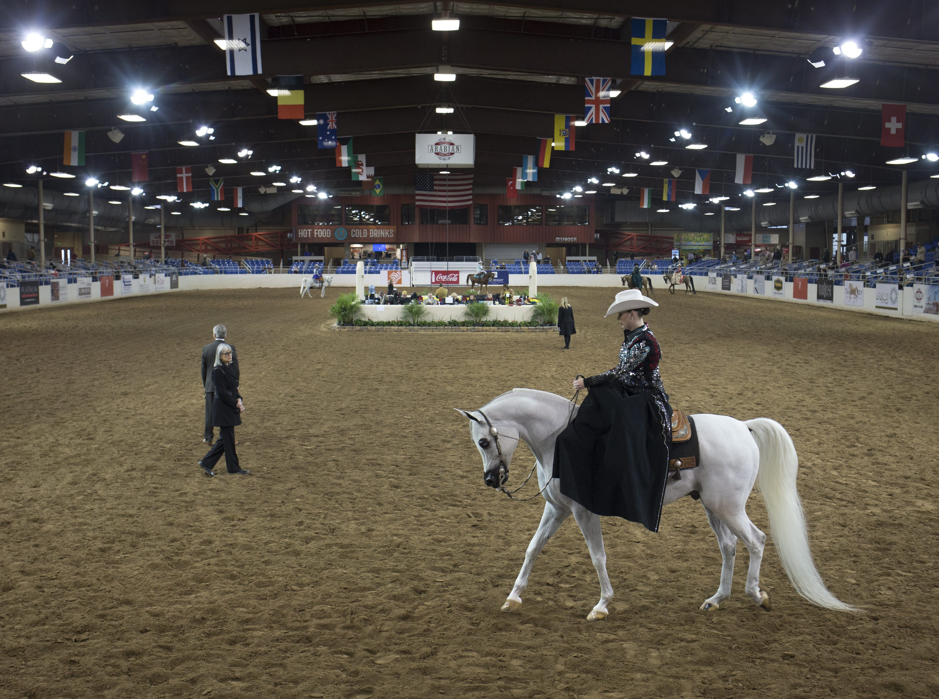 Rebecca Marr rides Verdykt in the Arabian Ladies Side Saddle Championship Western 18 & under category on Feb. 18, 2019, during the 64th Annual Scottsdale Arabian Horse Show at West World. Rebecca and Verdykt took first place.