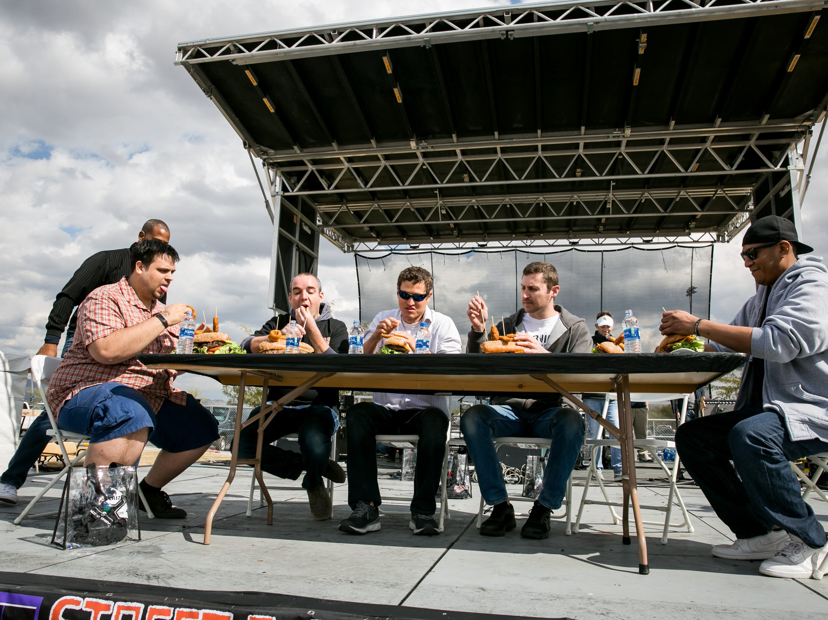 The eating contest got heated during the Street Eats Food Truck Festival at Salt River Fields near Scottsdale on Feb. 17, 2019.
