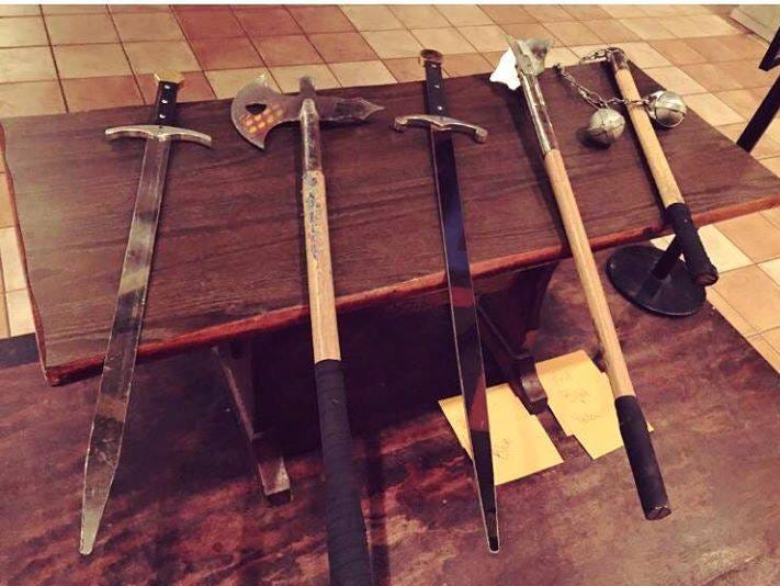 Weapons at Medieval Times.
