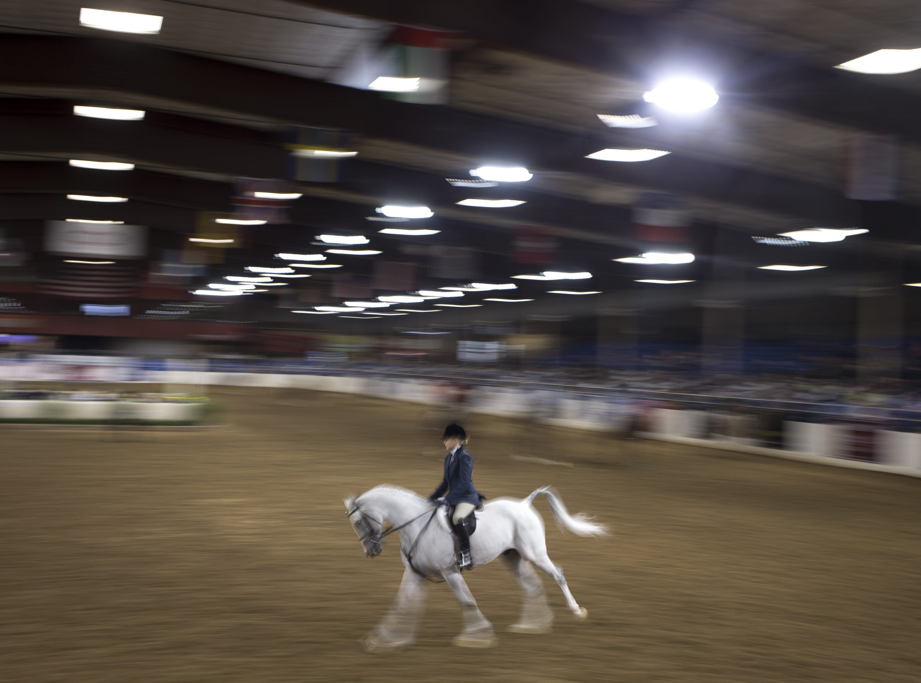 A rider during the Arabian Hunter Pleasure Championship 14 & under category on Feb. 18, 2019, during the 64th Annual Scottsdale Arabian Horse Show at West World.