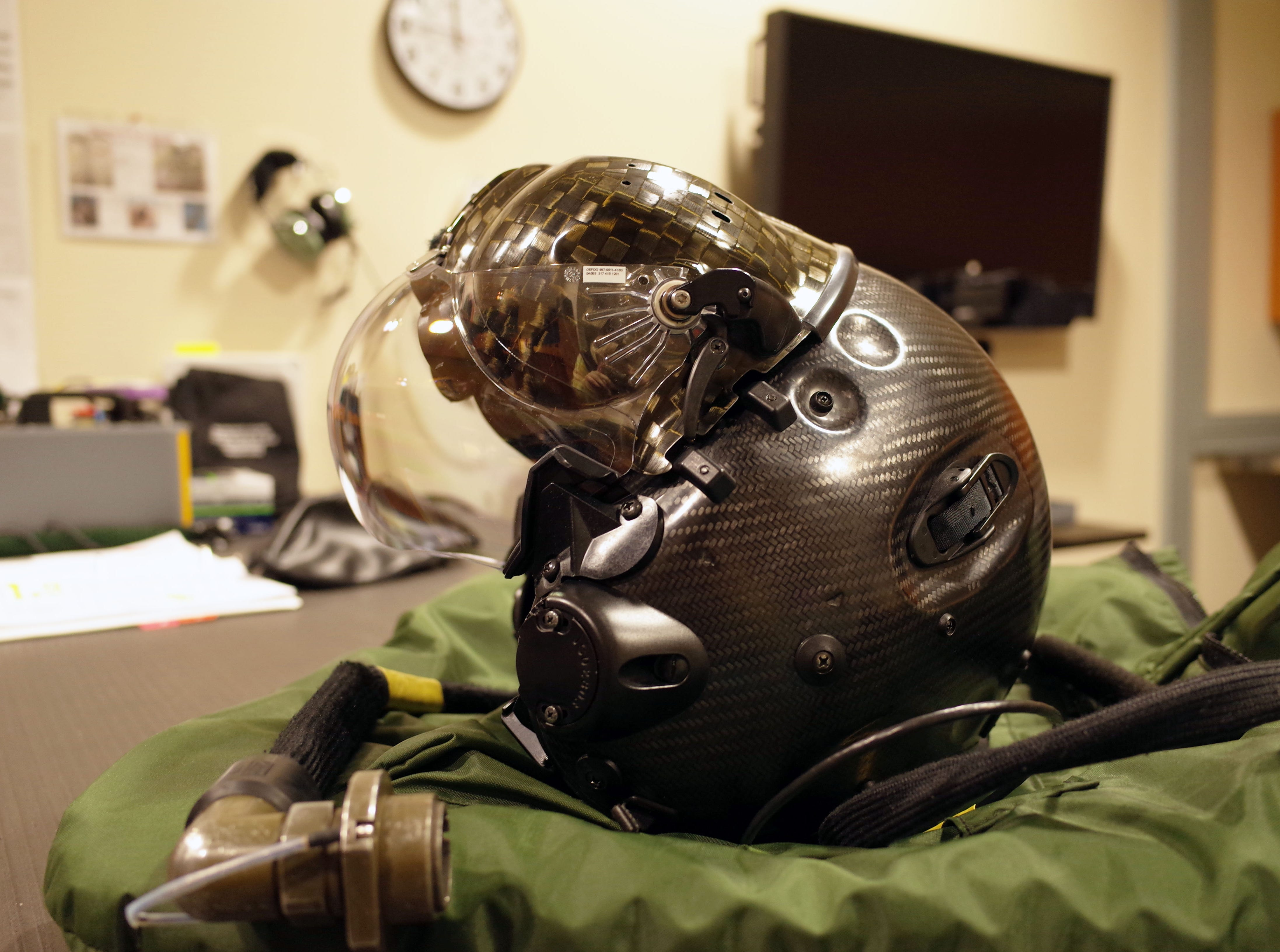 A picture of the flight helmet worn by F-35 pilots. The helmets cost about $400,000, according to a Luke Air Force Base spokesman.