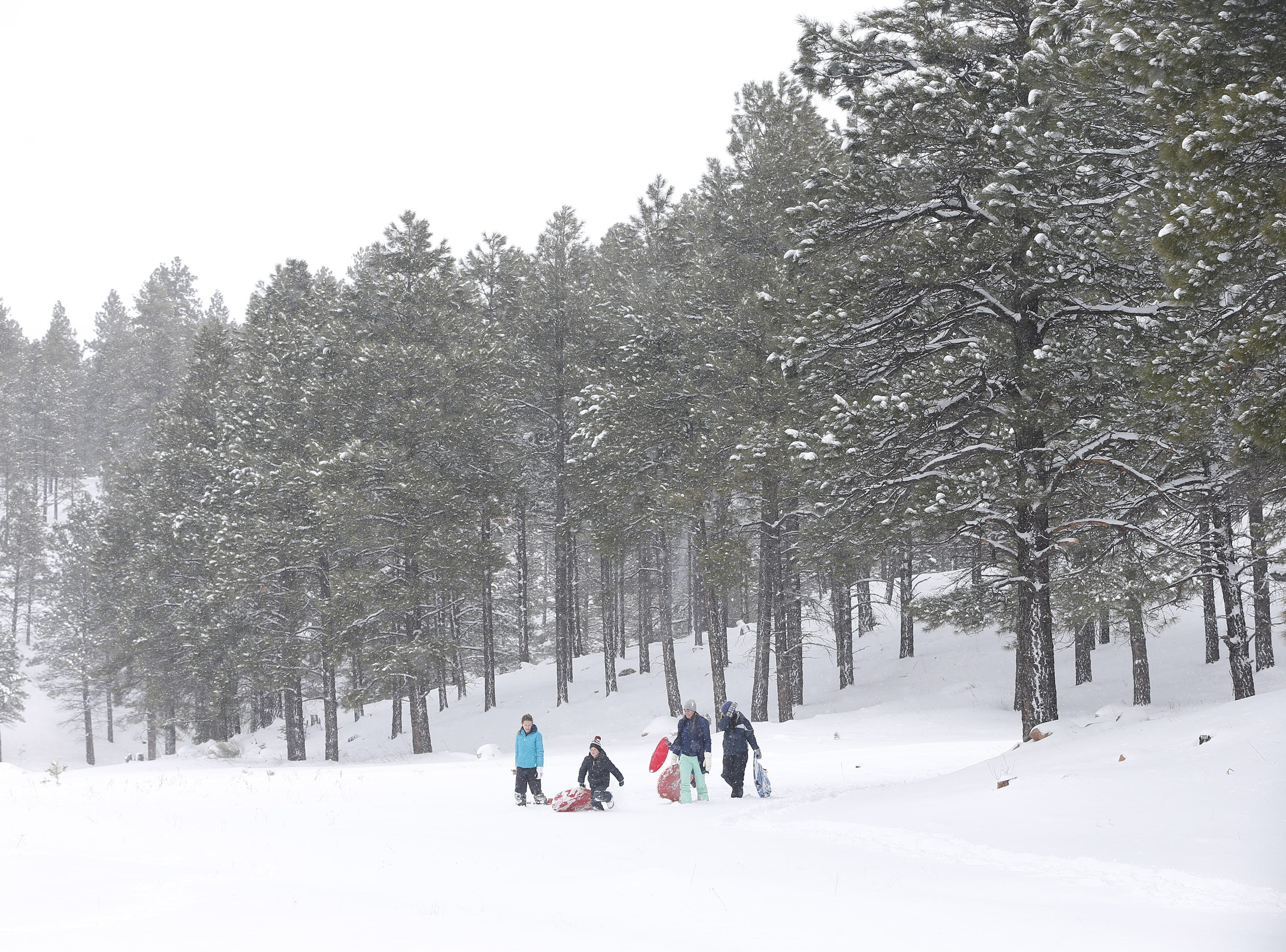 People play in the snow in Flagstaff Feb. 18, 2019.